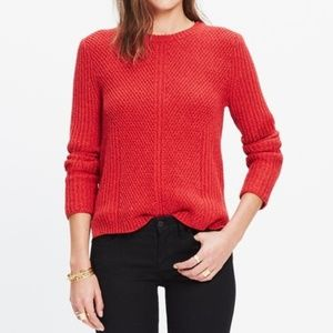Madewell Red Hexcomb Texture Sweater Pullover XS
